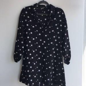 Black mini dress with stars